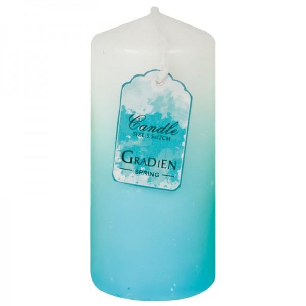 Kerze mit Farbverlauf, Ø 5,5 cm, 12 cm Höhe, blau