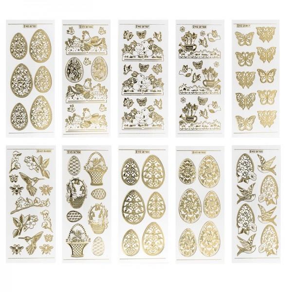 Gravur-Stickerbogen, Frühjahr/Ostern, 10cm x 23cm, transparent/gold, 10 Bogen