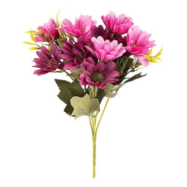 Blütenbusch, Margeriten, 28cm hoch, 10 große Blüten Ø 4cm, Beerentöne