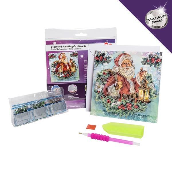 Diamond-Painting-Grußkarte, Strass, Frohe Weihnachten, 16cm x 16cm, inkl. Umschlag & Werkzeug
