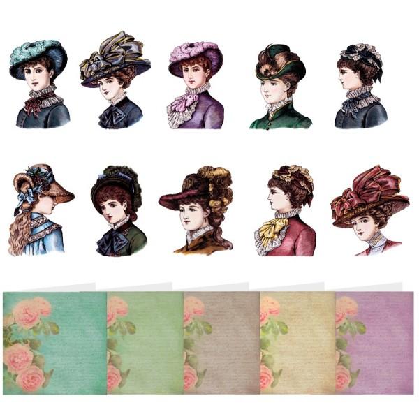 """3-D Romantik-Grußkarten """"Damen mit Hut"""", inkl. Umschläge, 30-teilig"""