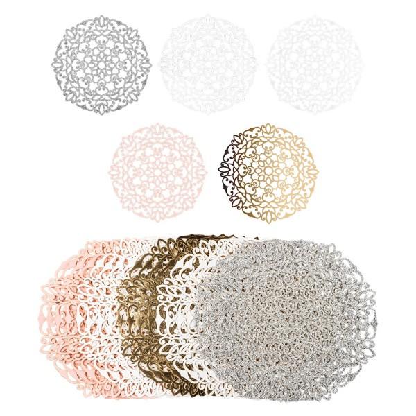 Laser-Kartenaufleger, Zierdeckchen, Ornament 2, Ø 14cm, 220 g/m², 5 Farben, 20 Stück