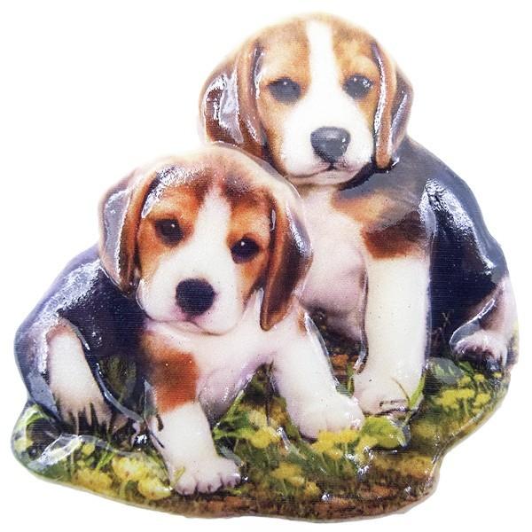 Wachsornament Hunde 2, farbig, geprägt, 7cm