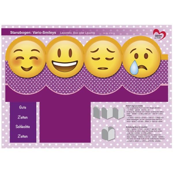 Stanzbogen, Vario-Smileys, DIN A4, Design 4