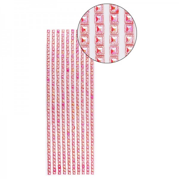 Schmuckstein-Bordüren, selbstklebend, facettiert, irisierend, Quadrate 6 x 6 mm, 29 cm, rot