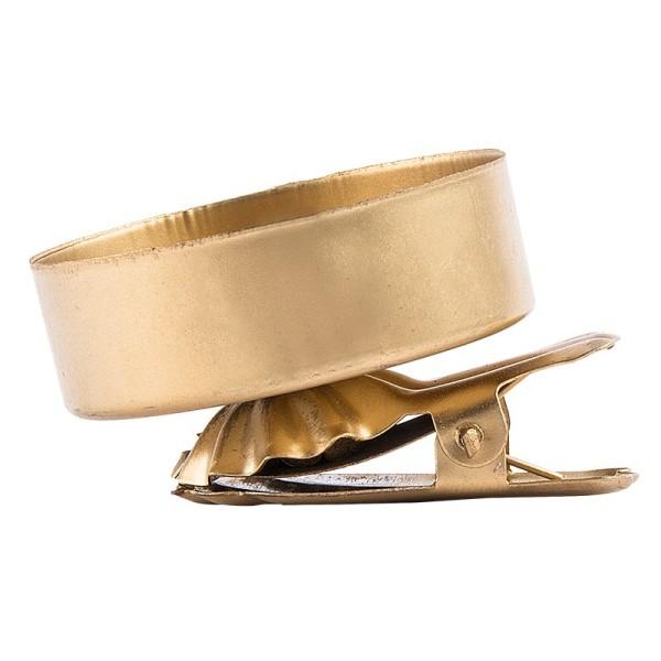Teelichthalter zum Klemmen, Ø 4,2cm, gold mattiert, 8 Stück