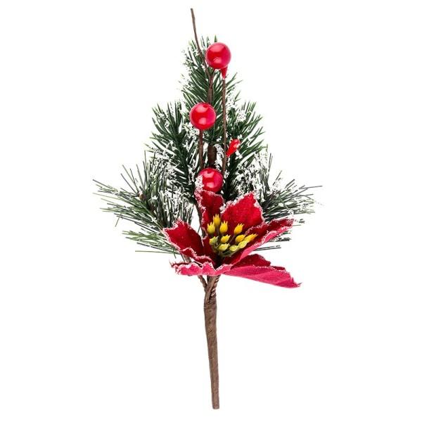 Deko-Tannenzweig, Weihnachtsstern, 20cm lang, beschneit