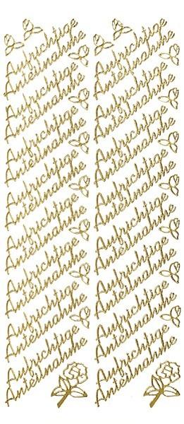 Sticker, Schrift, Aufrichtige Anteilnahme, gold