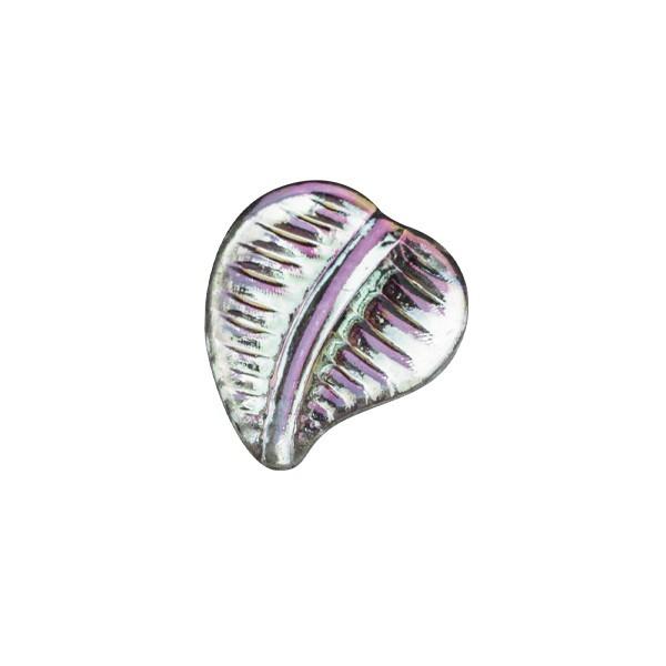 Ornament-Glitzersteine, 100 Stck, Blatt, 1,2 cm, klar-irisierend