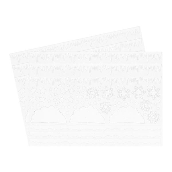 Stanzbogen, Moosgummi, Eiswelt, selbstklebend, DIN A4, weiß mit Glitzer, 2 Bogen