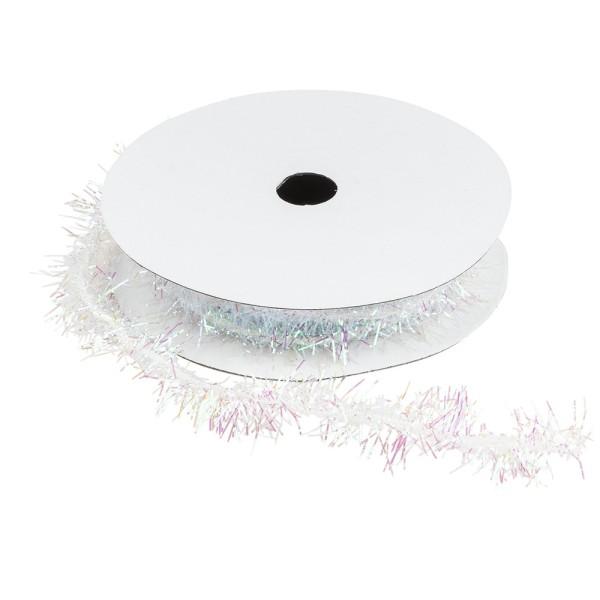 Lametta-Band, Ø 1cm, 2m lang, metallic-weiß, irisierend