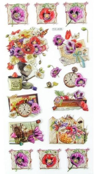Relief-Sticker, Traumhafte Blütenwelt, 17,5x9cm, Design 3
