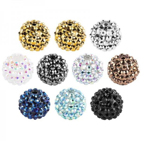 Kristall-Perlen, Mix, Ø 14mm, verschiedene Farben, 10 Stück