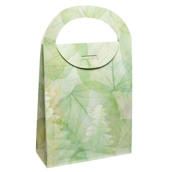 Geschenktasche Organzablatt, 4,5 x 11,5 x 20 cm, grün