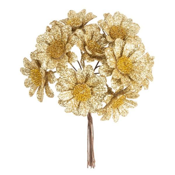 Deko-Zweige, Blüte 2, 10cm lang, am Draht, goldener Glimmer, 10 Stück