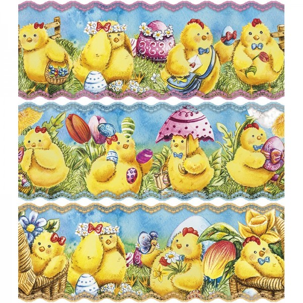 """Zauberfolien """"Fröhliche Küken"""", Schrumpffolien für Eier mit 6cm x 4,5cm, 5,5cm hoch, 6 Stück"""
