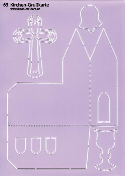 "Design-Schablone Nr. 63 ""Kirchen-Grußkarte"", DIN A4"