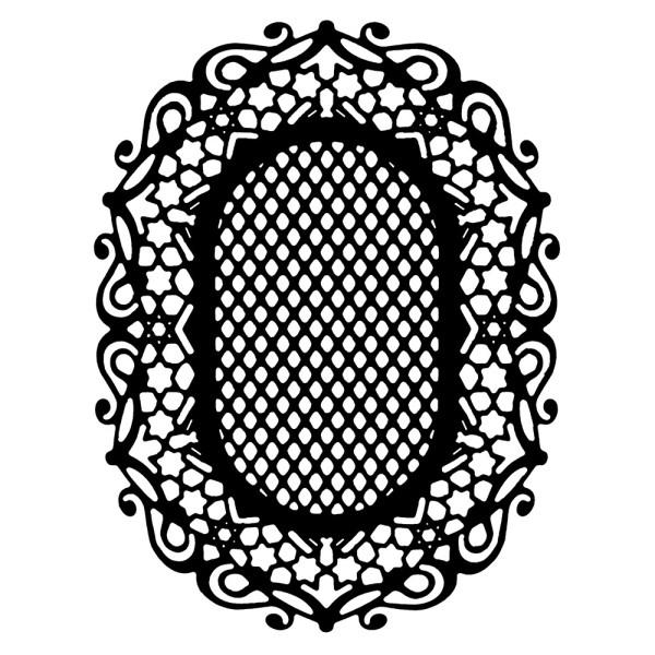 Stanzschablone, Zierdeckchen 6, 12,2cm x 9,4cm