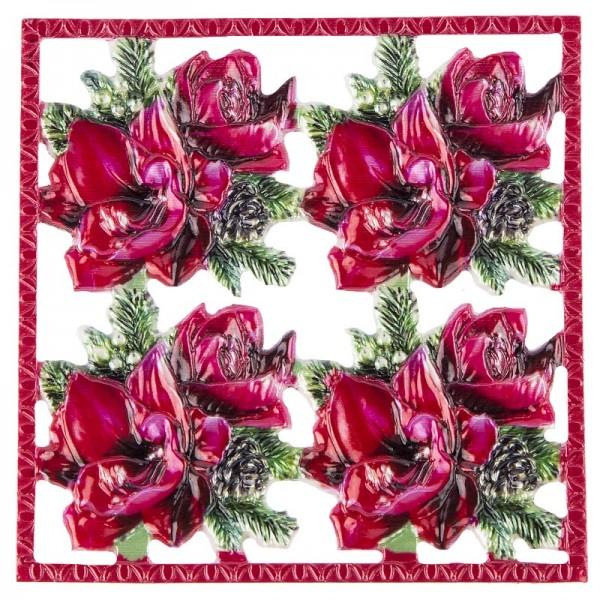 Wachsornament-Platte Weihnachtsgesteck, farbig, geprägt, 10x10cm
