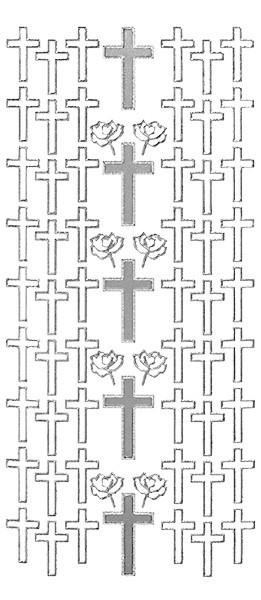 Sticker, Motiv Kreuz, Perlmuttfolie, silber