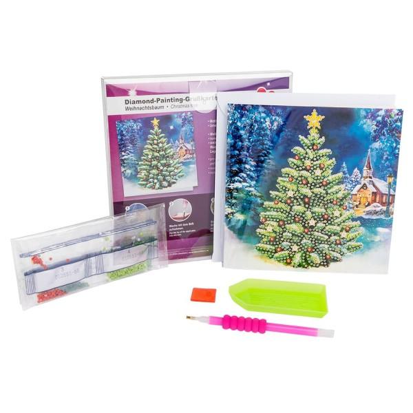 Diamond-Painting-Grußkarte, Weihnachtsbaum, 16cm x 16cm, 370g/m², inkl. Umschlag & Werkzeug