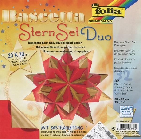 Bascetta Stern Set, DuoDesign, 15x15cm, 32 Blatt, rot/gold