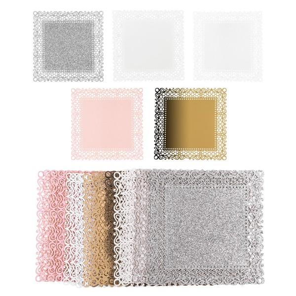 Laser-Kartenaufleger, Zierdeckchen, Ornament 13, 14cm x 14cm, 220 g/m², 5 Farbtöne, 20 Stück
