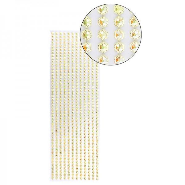 Schmuckstein-Bordüren, selbstklebend, facettiert, irisierend, Sechsecke Ø 5mm, 29cm, gelb