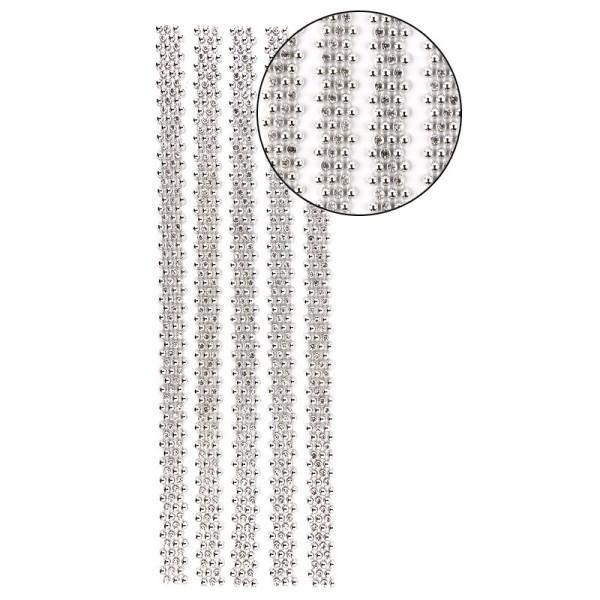 """Premium-Schmuck-Bordüren """"Royal"""", selbstklebend, 29cm, mit Glas-Kristallen, silber"""