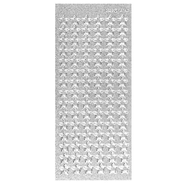 Microglitter-Sticker, Sterne 1, silber