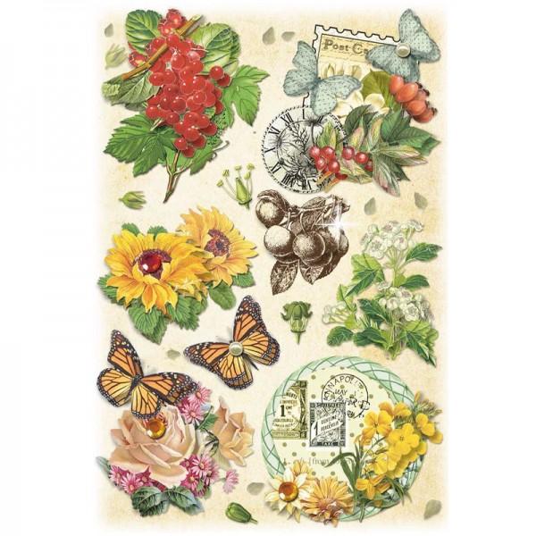 3-D Stickerbogen, Vintage-Blumen 2, 12,7 x 18,8 cm