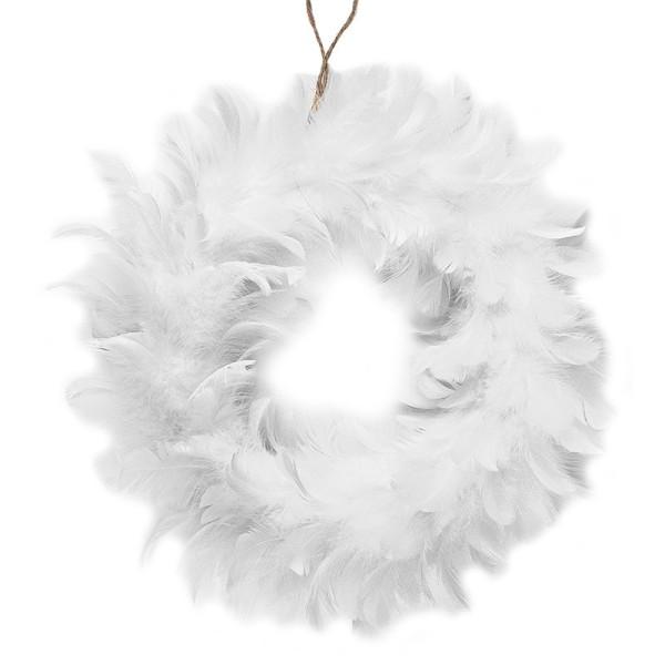 Deko-Kranz Federn, Ø 20cm, weiß