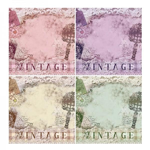 Motiv-Grußkarten, Vintage, 16cm x 16cm, 4 Stück