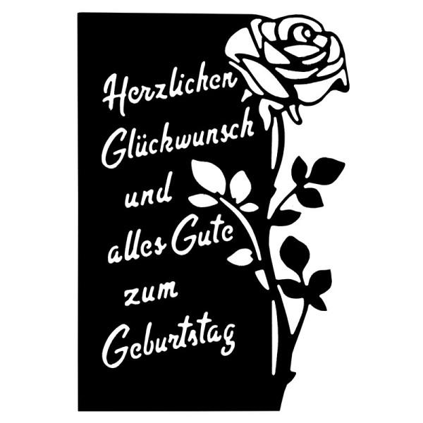 Stanzschablone, Geburtstagswünsche, 10cm x 14,5cm