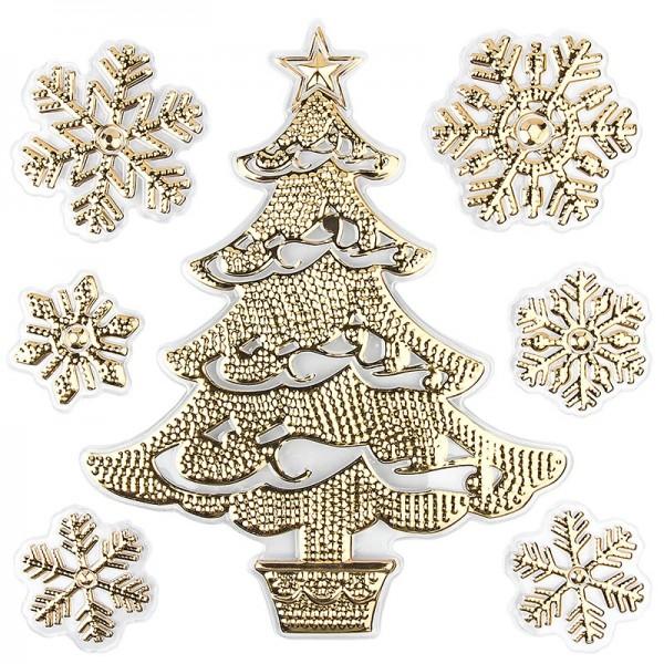 Relief-Sticker in Metallic-Optik, Weihnachtsbaum 1, 18cm x 17,5cm, gold