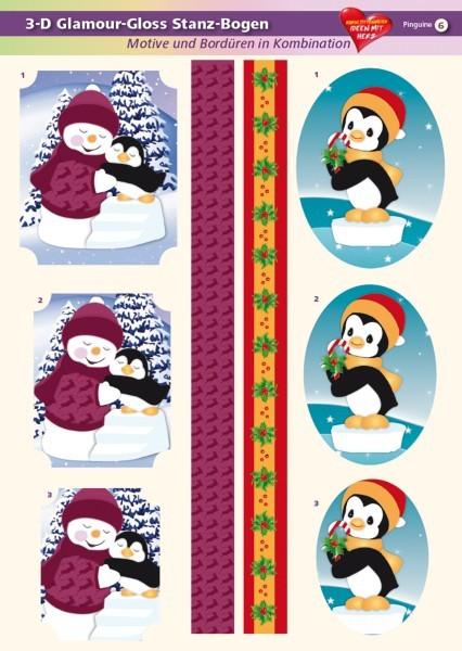 3-D GlamourGloss Bogen, Pinguine, DIN A4, Motiv 6