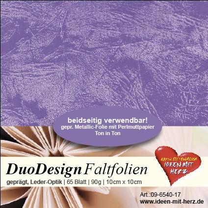 DuoDesign Faltfolien, Leder-Optik, 10cm x 10cm, 65 Blatt, flieder