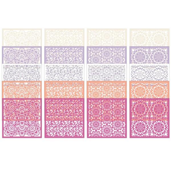Laser-Kartenaufleger, Blumen 2, 14cm x 14cm, 4 versch. Designs, 5 Farbtöne, 20 Stück