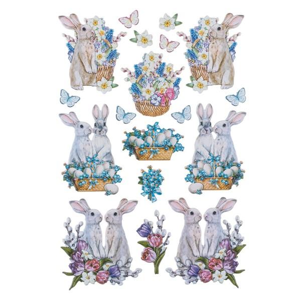 3-D Relief-Sticker, Niedliche Hasen 5, 21cm x 30cm, verschiedene Größen, selbstklebend