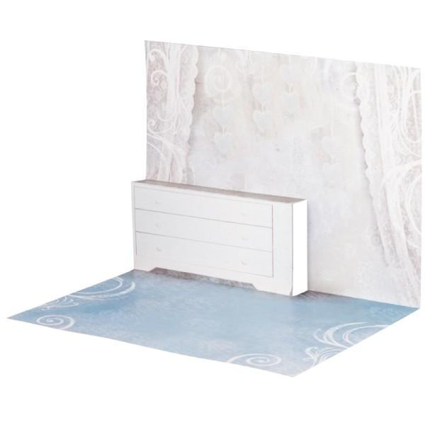 Pop-Up-Grußkarten-Einleger, gefaltet 11 x 15,5 cm, Zimmer, blau