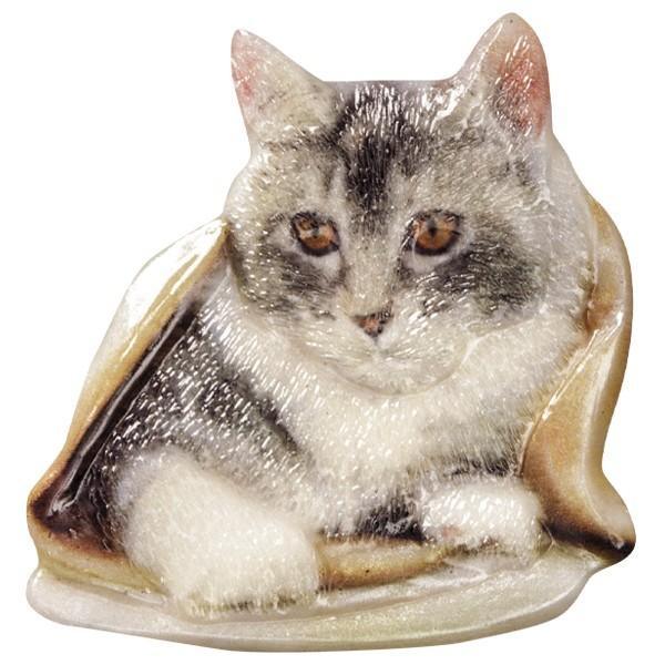 Wachsornament Katzen 5, farbig, geprägt, 7-8cm
