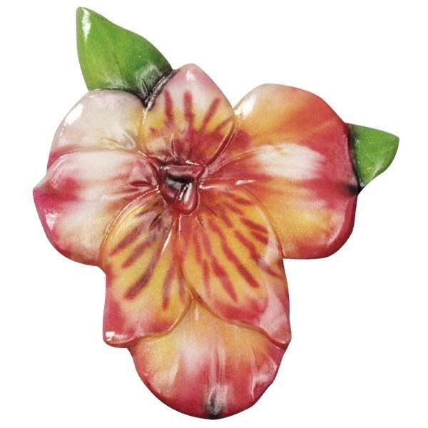 Wachsornament Blütezeit 9, farbig, geprägt, 8cm