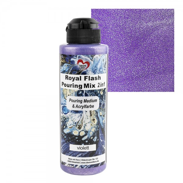 Royal Flash Pouring Mix, 2 in 1, Pouring Medium & Acrylfarbe, violett, 180ml