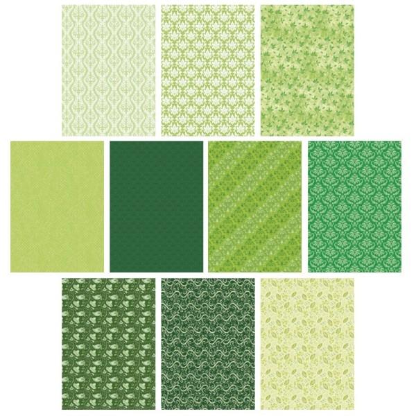 Deko-Karton Set, grün, DIN A4, 10 Bogen