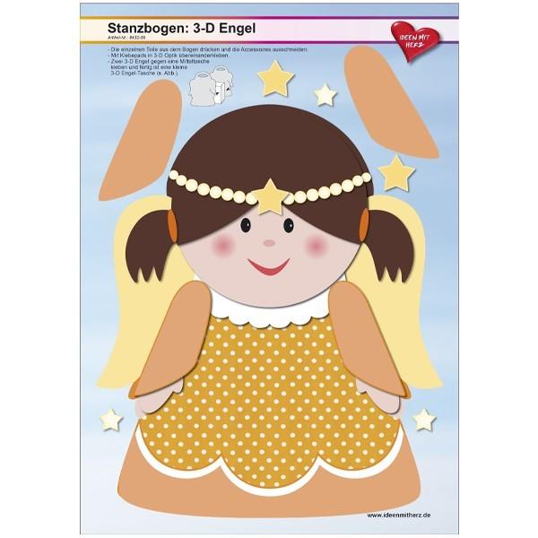 Stanzbogen, 3-D Engel, DIN A4, Design 9, 2er Set