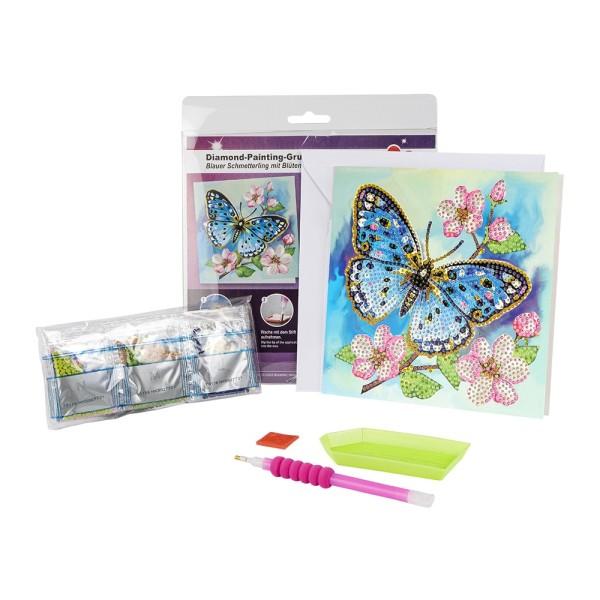 Diamond-Painting-Grußkarte, Blauer Schmetterling, 16cm x 16cm, 370g/m², inkl. Umschlag & Werkzeug