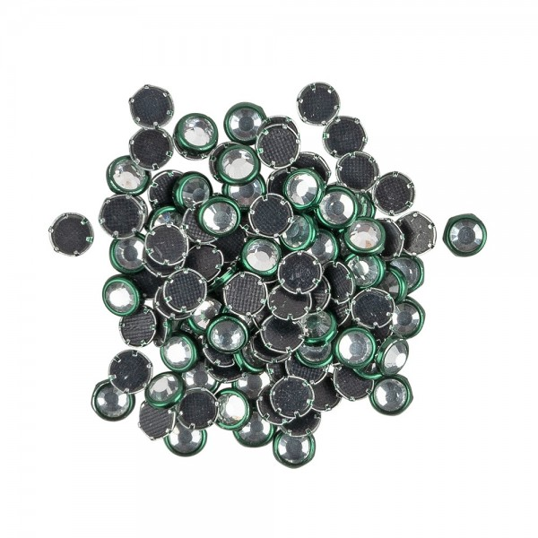 Hot-Fix Glas-Kristalle zum Aufbügeln, Ø 5mm, grün, 100 Stück