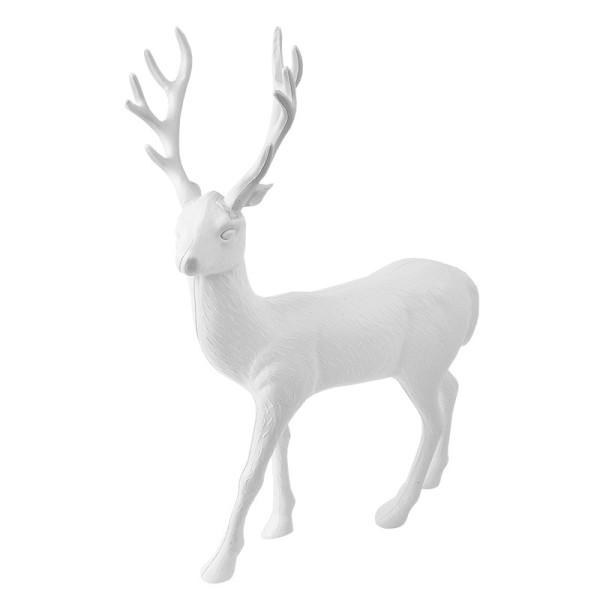 Winter-Deko, Rohling, Hirsch 4, 4,5cm x 19cm x 30cm, weiß