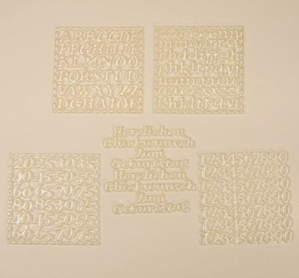 Wachs-Schriften, 10er Set, weiß-perlmutt