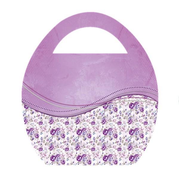 """Deko-Bild """"Ei-Tasche mit Blumen-Schwung"""", mit Griff, 20x23cm, violett, 2 Stück"""